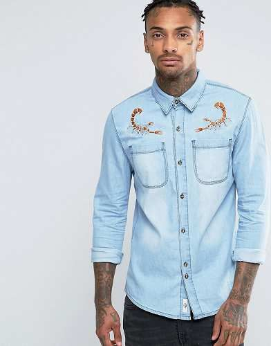 Prezzi e Sconti: #Bellfield camicia di jeans con aragoste - taglia S  ad Euro 35.99 in #Bellfield #Male saldi camicie