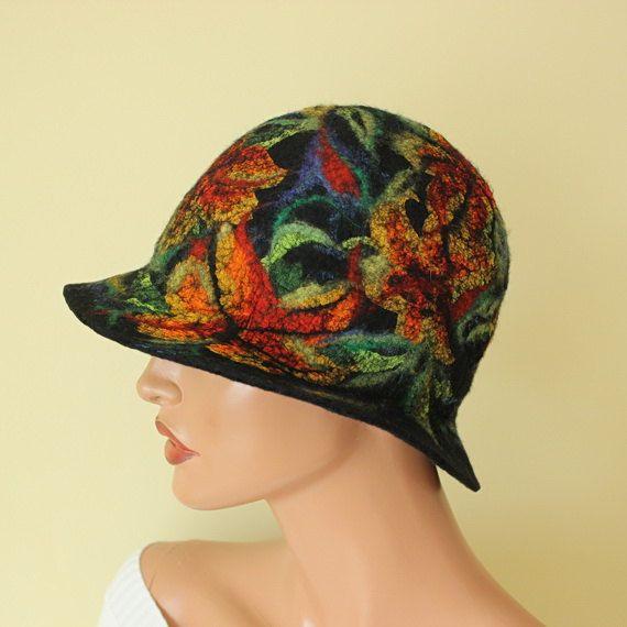 Colorful hat felted Fancy hat Multicolor hat by ZiemskaArt