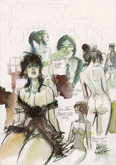 """""""Les Femmes de Corto Maltese"""" projet de couverture, 1981"""