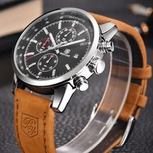 Men Watch Top Brand Luxury Male Leather Waterproof Sport Quartz Chronograph Military Wrist Watch  Super sale up to 80% off all items!  Limited time offer!!!
