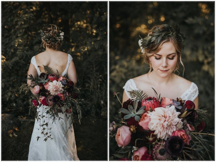 Vancouver bride with her bouquet, by Floral Design by Lili