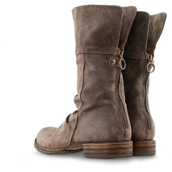 FIORENTINI AND BAKER Eternity Ella shoes ($405) ❤ liked on Polyvore featuring shoes, boots, ankle booties, footwear, coffee suede, round cap, cuffed booties, back zipper boots, flat suede booties and cuff boots