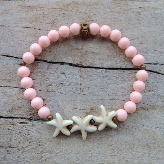 bracelet étoile de mer rose bracelet de plage par beachcombershop