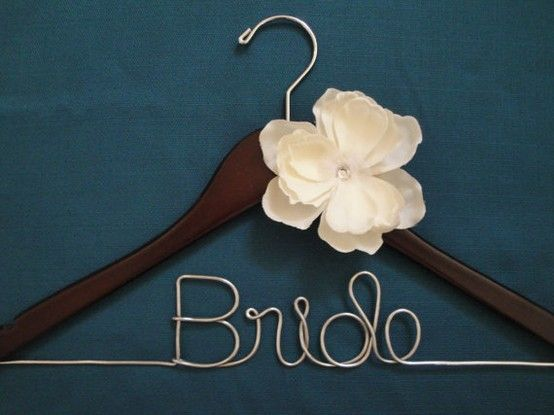 DIY Personalized Bridal Hangers - Totally doable!! These are the things you think about after you see your beautiful dress hanging on the ugly hangers :)  @Ariel Kelly