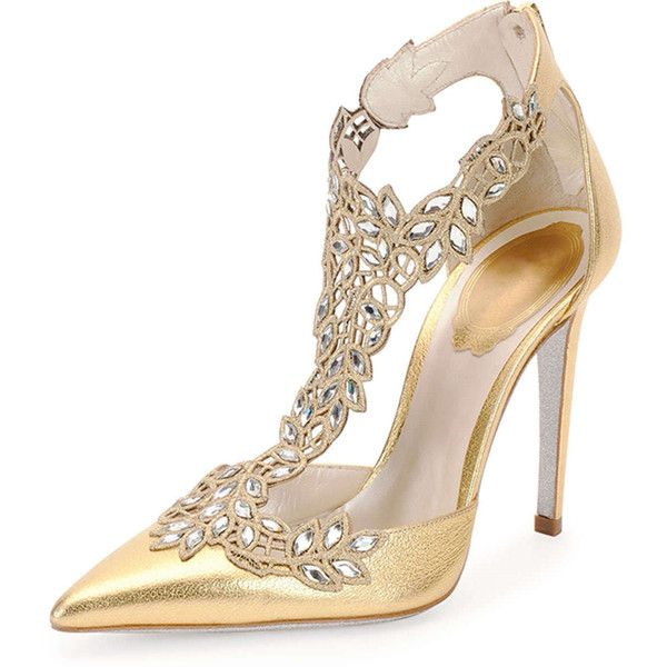 Rene Caovilla Crystal-Lace Metallic Leather Pump ($1,400) ❤ liked on Polyvore featuring shoes, pumps, heels, sapatos, gold, high heel pumps, lace pumps, pointed-toe pumps, high heel shoes and metallic pumps