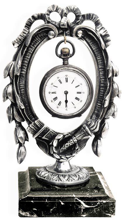 Portaorologi neoclassico a corona  su base marmo cm 17 (Peltro / Britannia Metal) - collezione: Corona. Cosi Tabellini.
