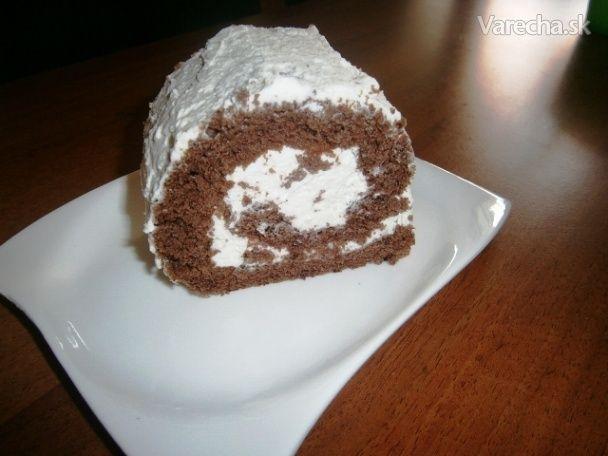 Výborná kakaová roláda plnená šľahačkou a banánom (fotorecept) - Recept