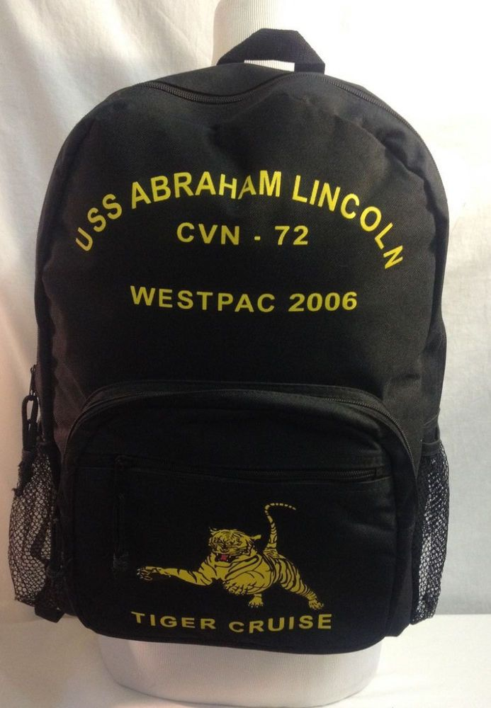USS Abraham Lincoln Backpack CVN-72 Tiger Cruise Westpac 2006 Aircraft Carrier