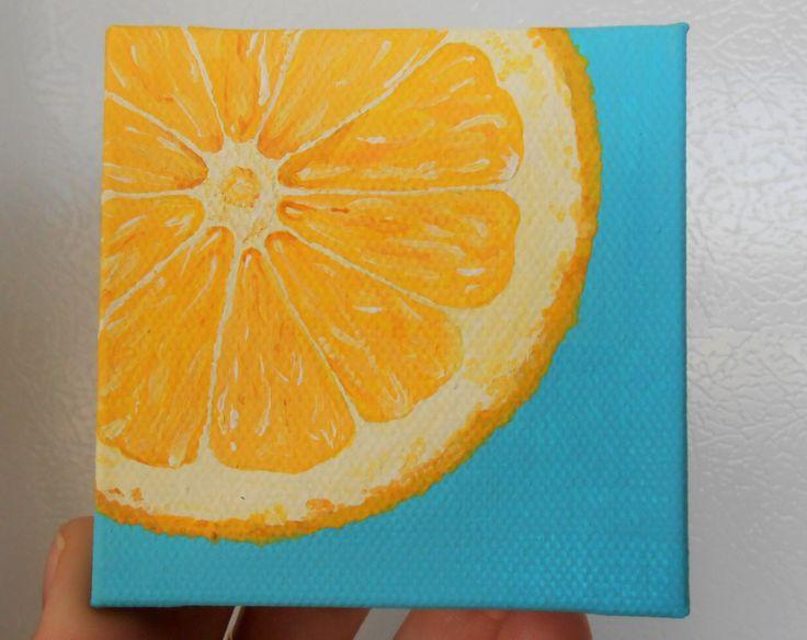 Lemon Slice Painting, Slice Of Fruit Art, Mini Painting, Yellow And  Turquoise Kitchen