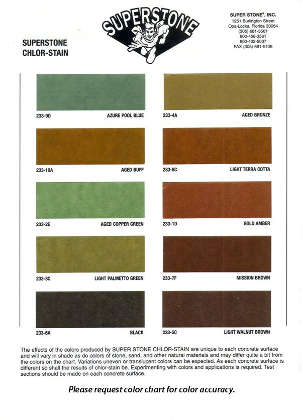 Stained concrete color chart provided by Super Stone featuring their line of CHLOR-STAIN acid stains.