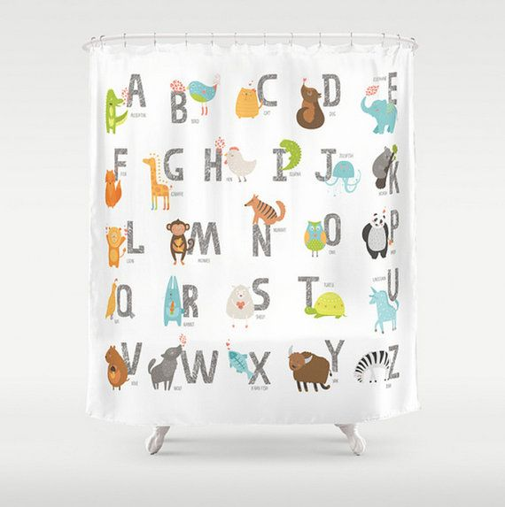 Kids Shower Curtain Alphabet Animal Letters Zoo Animals Baby Children Child Bath Room Home Decor
