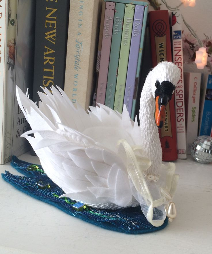 My latest bird, #swan #birds #textiles #fabric #softsculpture #3D   www.facebook.com/itshangingbyathread