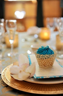 This is a styled shoot but look at that cupcake liner and colors! Teal + gold | Vintage Romance ~ An Example of How to Perfectly Execute Your Theme | Georgia Watson Events Inc. ~ Weddings by Georgia