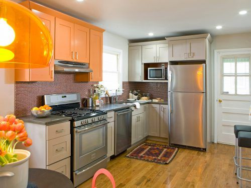 Contemporary Kitchen Design for Small Spaces with Orange Cabinet