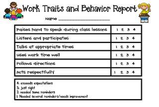 Teaching Blog Addict: Work Traits and Behavior Report