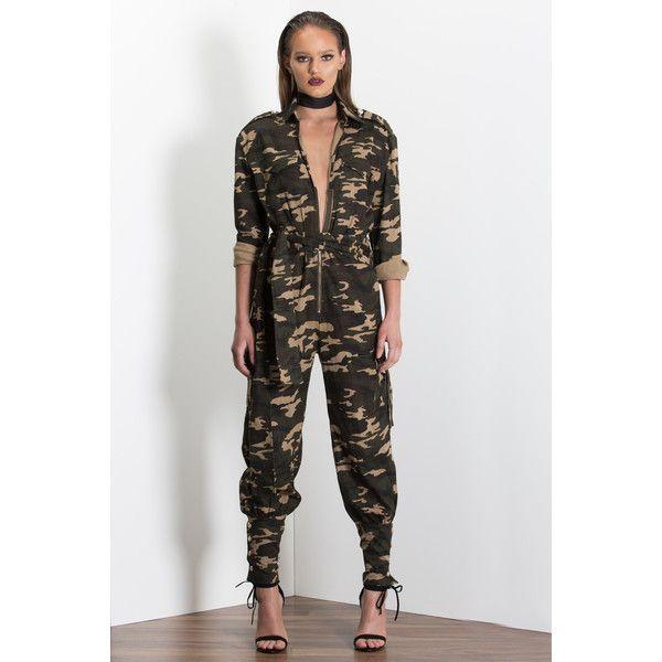 BATTALION UTILITY JUMPSUIT CAMO (PRE-ORDER) SCK THE LABEL via Polyvore featuring jumpsuits, camo jumpsuit, jump suit and camouflage jumpsuit