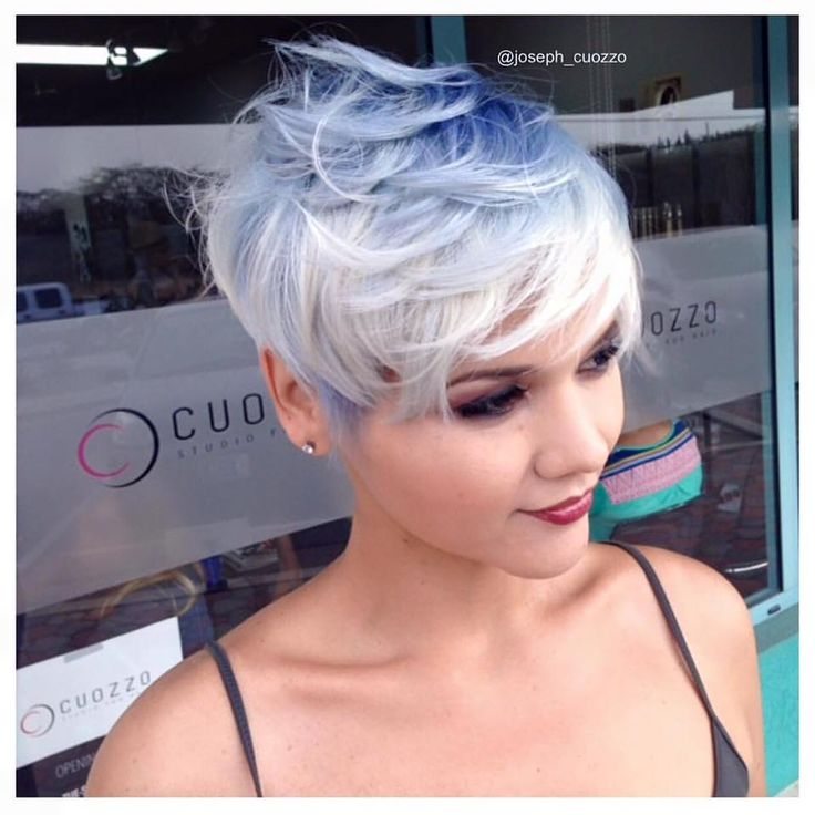 Adorable pixie cut by Joseph Cuozzo; blue and icy white color melt by Tonya Cuozzo