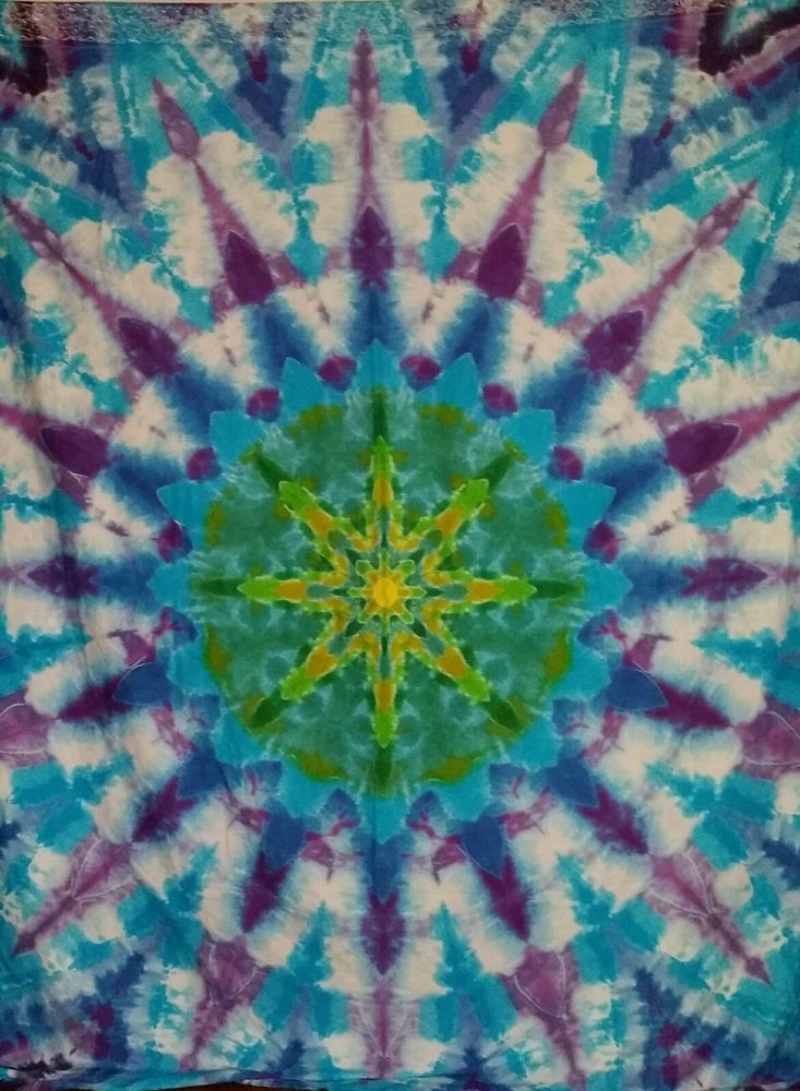 Hand Dyed Tie Dye Tapestry Queen Size Sheet Size Mandala Design