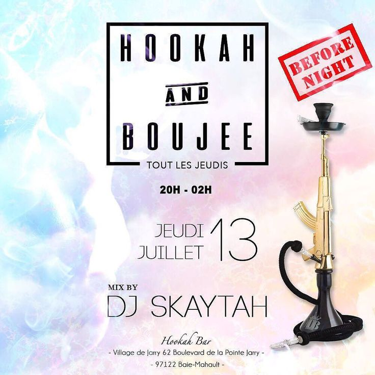 JEUDI 13 JUILLET  DIRECTION  Le HOOKAH BAR  Au village de JARRY  HOOKAH AND BOUJEE   La direction se réserve le droit d'entrée  music by The Best DJ  Skaytah À PARTIR DE........20H ESPACE INTÉRIEUR ET EXTÉRIEUR Resa:0690249919 #CHICHA #GOODMUSIC #THURSDAY night #chill  #HAB #guadeloupe#beautifulpeople #theplacetobe #Hookah bar
