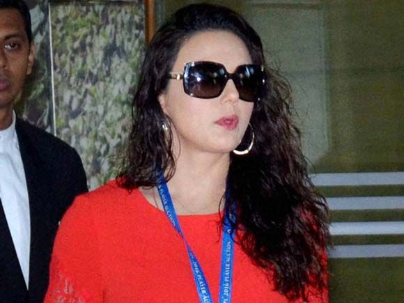 Kings XI Punjab co-owner Preity Zinta arrives to participate in the IPL players auction