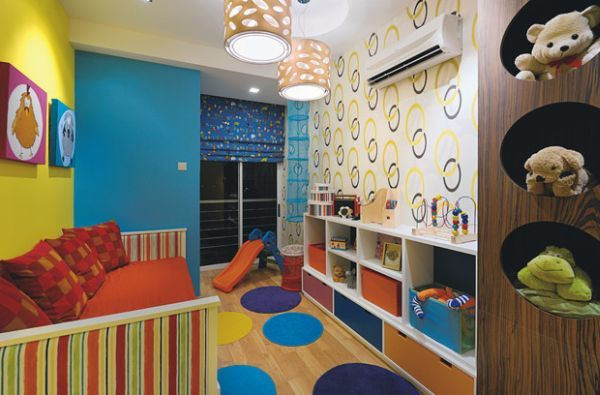 Colorful wallpaper idea for kids' playroom