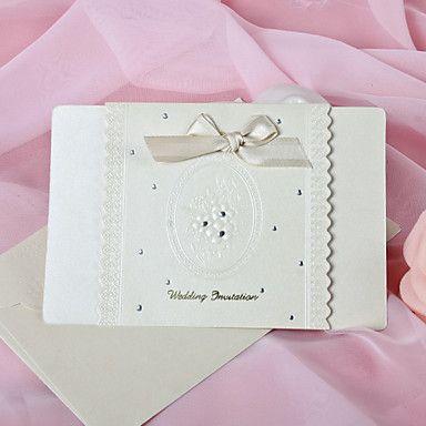 European Style Flower bryllup invitasjon med bånd bowknot-Sett med 50 – NOK kr. 265