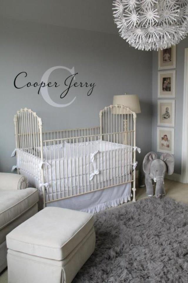 nursery- love the name above crib like that :)