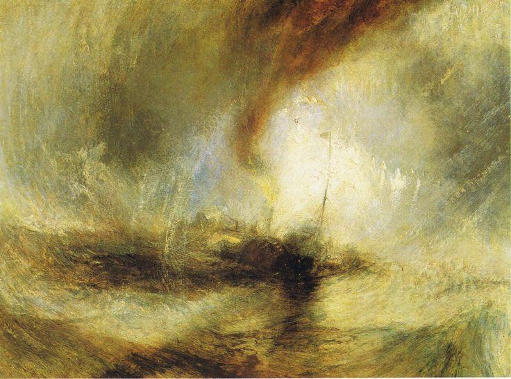 Vapeur dans uneTempête de neige (1842) - On ne perçoit qu'une coque sombre et un pavillon en haut d'un mât. Mais on sent avec intensité la lutte contre une mer déchaînée et des rafales redoutables.