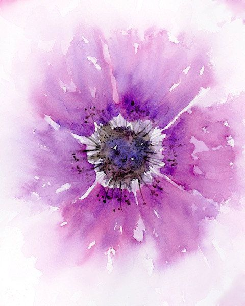 Watercolor flower print, pink flowers gift for her, watercolor wall art, abstract watercolor flowers painting, flower illustration, 8x10, F1
