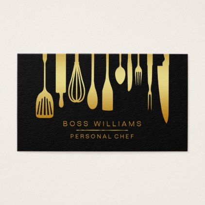 Catering Personal Chef Gold Kitchen Utensils Business Card - wedding cyo special idea weddings