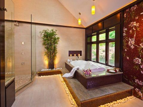 banheiro estilo asiático 1 - design trends Uma dessas características é o foco no relaxamento, que faz com que o estilo asiático seja mais utilizado em quartos, salas e até em restaurantes. Mas nada impede que ele apareça também nos banheiros, caso a intenção seja criar um espaço de banho que induza à permanência.
