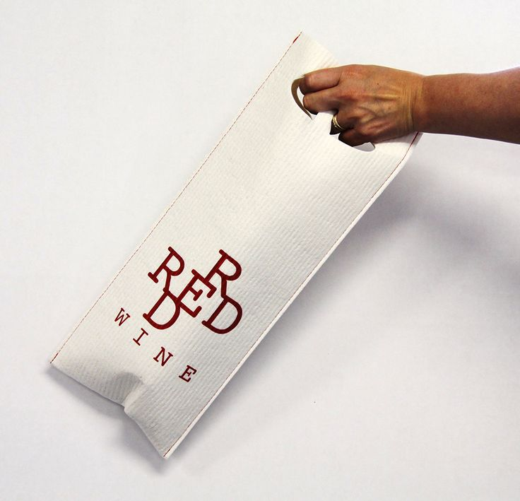 Red wine giftbag - you can use this as a cleaning cloth and after several weeks it is only biowaste! Design Susanna Myllymäki Kuitukuu Oy www.morejoy.fi