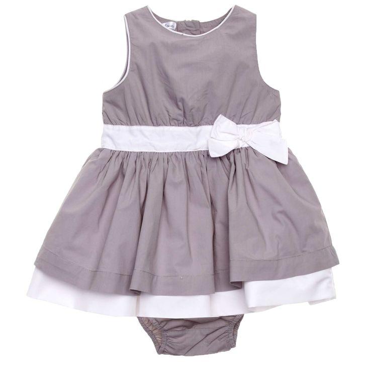 Robe cérémonie popeline + culotte gris Bébé fille