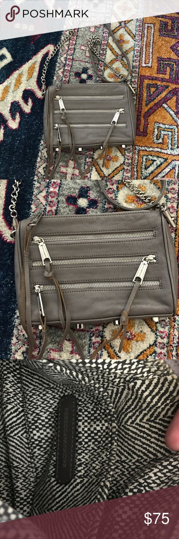 Grey Rebecca Minkoff purse Grey crossbody Rebecca Minkoff with tassels! It is in great condition and perfect size for everyday! Rebecca Minkoff Bags Crossbody Bags