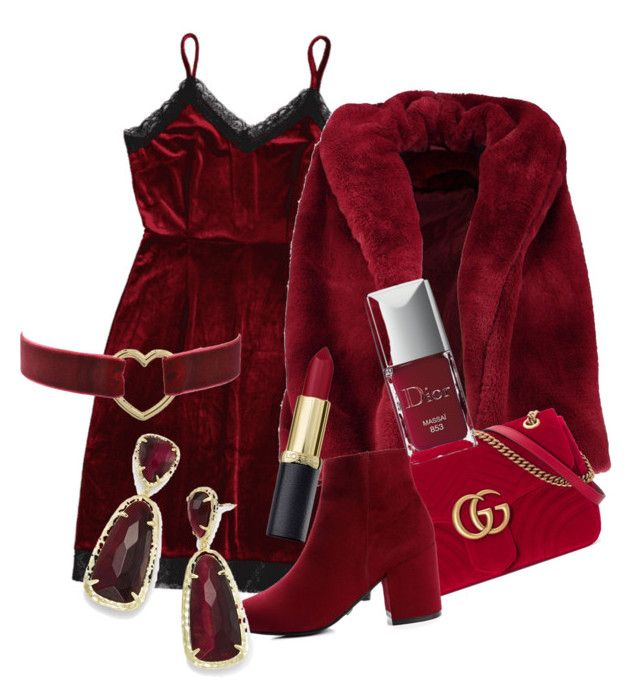 """red set"" by thepenetrator on Polyvore featuring Boohoo, Gucci, Kendra Scott and Christian Dior"