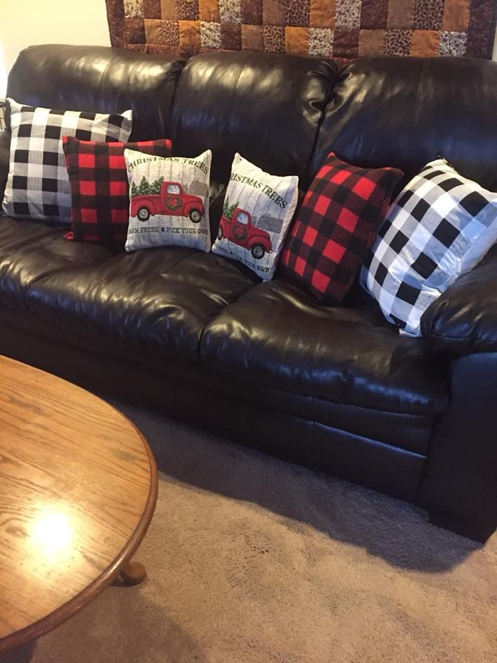 Buffalo Check Pillows In Red Black And Black White The Little Red Truck One Are Made Of T Red Christmas Decor Christmas Red Truck Black Christmas Decorations