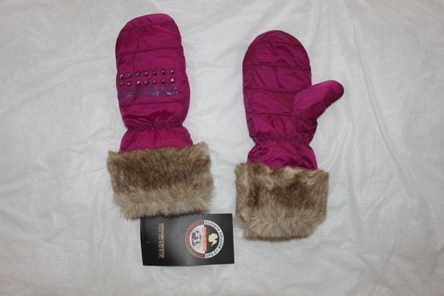 Gloves for girls/women's one size purple original Napapijri fur,wrist. #Napapijri #SkiGloves
