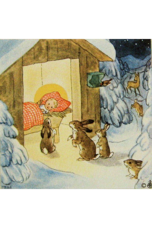 Ida Bohatta Vintage Christmas Print, Nativity Scene