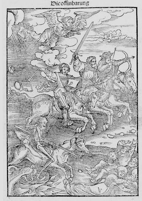 Les 4 cavaliers ; Martin Luther, The German new Testament, Wittenberg Décembre 1522 ; Gravure sur bois, Londres, bibliothèque anglaise