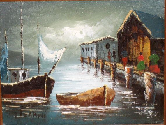 Original Signed Boats & Wharf Painting On Canvas, Signed Lazarini by CookieGrandma60, $115.00