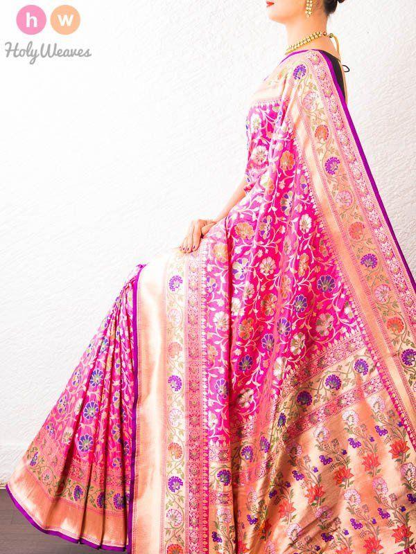 Pink Handwoven Katan Silk Cutwork Brocade Saree