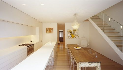 Love the old table in super contemporary settings. Skim Milk: Fink House by Ian Moore Architects