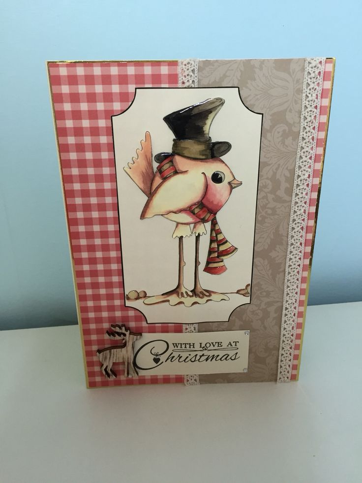 Handmade robin Christmas card made using house of Zandra decoupage