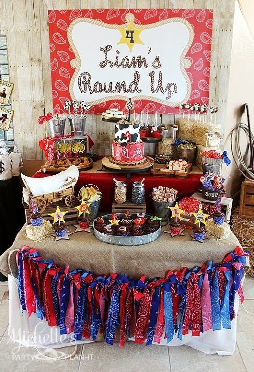 Western party ideas by Michelle's Party Plan-It. Liam's Round Up complete with a cardboard town, hay bales and rootin tootin desserts. Lots of party ideas.