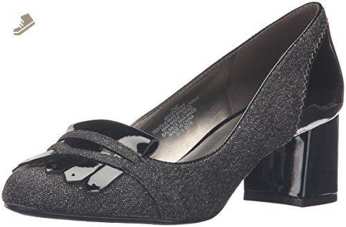Bandolino Women's Odonna Dress Pump, Grey/Black Fabric, 7.5 M US - Bandolino