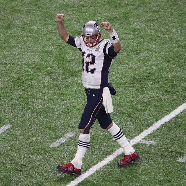 """#SuperBowl LI is a wrap. Tom Brady orchestrated the greatest comeback in SuperBowl history to win his fifth ring. Under Armour just released """"The Legend of Tom Brady"""" video; tap the link in our bio to view. #sneakerfreaker #instagramanet #sneakerhead"""