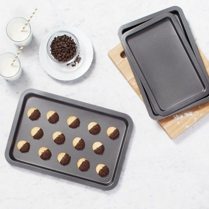 Toaster Oven Pan Set Of 3 Non Stick Baking Oven Cookie Kitchen Tray Sheets Steel #PerfectHomeSavings