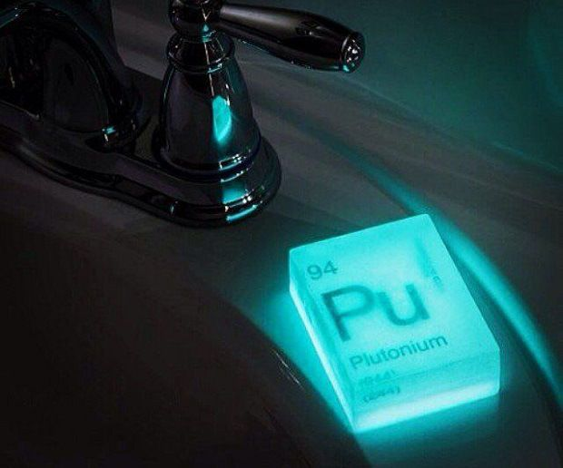 Wash your hands with Uranium, Plutonium, and Radium, radioactive, glow in the dark soap. SEE IT AT http://checkfancytech.com/nuclear-element-soap/