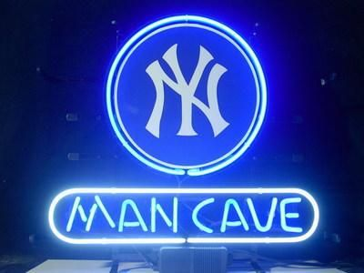 NEW NEW YORK YANKEES MAN CAVE REAL GLASS NEON LIGHT BEER BAR SIGN