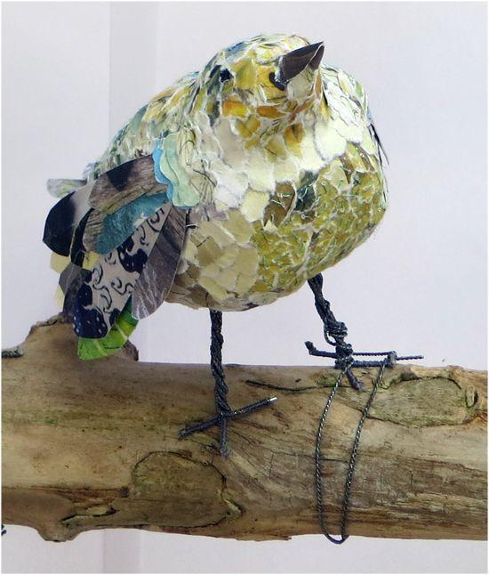 Book Transformation: Flock of Birds - Listening bird. Paper bird sculpture. http://www.accessart.org.uk/book-transformation-flock-of-birds/Listening bird